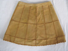 Free People Suede Leather Patchwork A-Line Skirt- Mustard -Size 4 -NWT $168