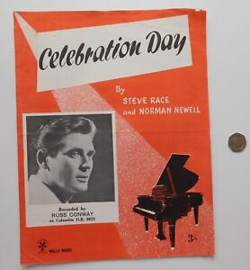 Celebration Day 1960s vintage sheet music for piano Russ Conway Race Newell