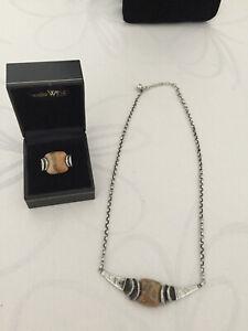 PERLI - 2 teiliges Designer Schmuck Set - 925 Silber mit Achat - Collier + Ring