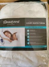 "Beautyrest Microlight Reversible Luxury Heated Throw 60"" x 70"" Minky Soft White"