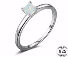 Stunning 925 Sterling Silver White Fire Opal Princess Cut Solitaire Ring Size N