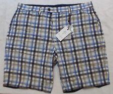 ROBERT GRAHAM Mens Reversible Plaid Blue Flat-Front Shorts NWT $178 Waist 32