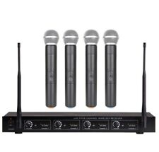 Quad Channel Wireless Microphone System Receiver Karaoke 4 Handheld Microphones
