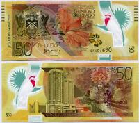 Trinidad & Tobago 50 Dollars 2014 BIRD PERFIX CF P 54 POLYMER COMM. UNC