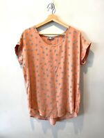 Anthropologie Pleione Peach Polka Dot Short Sleeve Blouse Women's Size Small