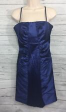 Calvin Klein Cocktail Dress Size 10 Royal Blue Taffeta Ruched Bodycon Party Gown