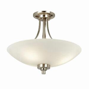 KADEN Satin Chrome Semi Flush Ceiling Light with White Lined Painted Shade E27