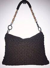 Handmade Crochet/Knit Brown Shoulder Bag /Handbag