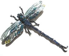 CRYSTAL DRAGONFLY convertible Pendant or Brooch gunmetal blue insect bug pin 4W