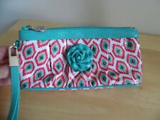 """Vera Bradley """"Frill"""" Call Me Coral Small Zippered Wristlet, Excellent Condition"""