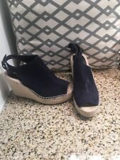 Kenneth Cole Reaction Navy Blue Suede Open Toe Sling Back Wedge 7 1/2 7.5