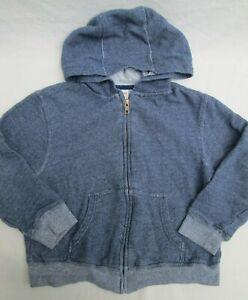 ❤ GYMBOREE boy hoodie jacket denim navy blue zip french terry Small 5 6 FREESHIP