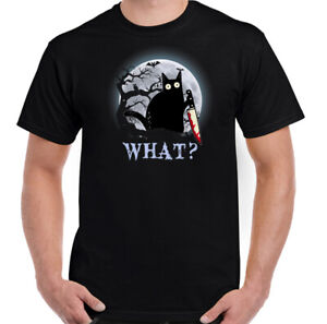 CAT WHAT T-SHIRT, Halloween Mens Witch Black Horror Murderous Funny Unisex TOP