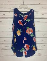 Sanctuary Anthropologie Women's S Small Blue Floral Sleeveless Spring Top Blouse