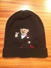 NWT POLO RALPH LAUREN CASHMERE BEANIE TUXEDO MARTINI BEAR WOOL BLACK SKULLY HAT