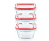NEW! Pyrex Freshlock - 1 Cup Square Glass Containers w/ Lids, 6pc Set - Red Trim