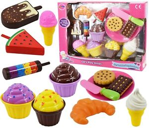 Kids Ice Cream and Cake Play Food Set Pretend Play Cones Cakes Biscuits 13 Piece