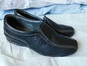 Designer FLY FLOT Black Leather Wedge Heel Slip On Shoes Size UK 6.5 EUR 40