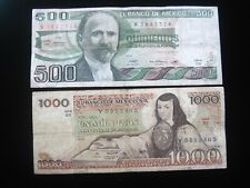 MEXICO 500 & 1000 PESOS 1982 1979 PAIR MEXICAN 2485# CURRENCY BANKNOTE MONEY