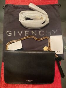 *NEW* REAL GIVENCHY Black Textured-Leather and Suede Shoulder Bag