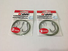 2 Packs of VMC Hook Size 3/0 and 2/0 Fishing Leader 25lb (4 Rigs Total)