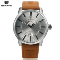 BENYAR Men's Calendar Waterproof Military Leather Strap Quartz Wrist Watch Box