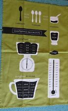 Linen Kitchen Tea Towel Measurement Cooking Equivalents Reference, Green & Black