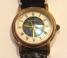 VINTAGE FOSSIL WOMEN'S PRISM WATCH  BLACK LEATHER BAND, new battery