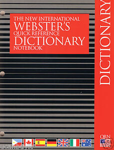 Webster's International Quick Reference DICTIONARY ~ Notebook Ready! Grades 2+