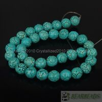 Blue Howlite Turquoise Gemstone Carved Round Loose Spacer Beads 10mm 12mm 16""