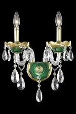 2 LIGHT GREEN & GOLD ASFOUR CRYSTAL WALL SCONCE BEDROOM DINING LIVING ROOM FOYER
