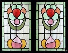 Art Nouveau Flowers Antique English Stained Glass Windows