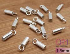 40 pcs Sterling Silver 925 Crimp End Cap, ID 1.5mm, Chain / Cord Ends Cap