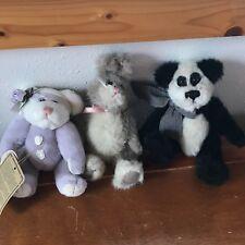 Lot of 3 Boyds Bears Purple & Cream Angel Tan & Cream Bunny Rabbit Small Jointed