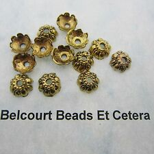 50 Antique Gold Floral Bead Caps 9x4mm Lead Nickel and Cadmium Free