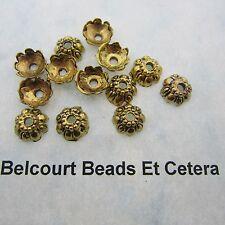 50 Antique Gold Floral Bead Caps 9x4mm Lead Nickel and Cadmium Free