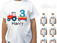 PERSONALISED TRACTOR FUN BIRTHDAY CHILDRENS KIDS BOYS GIRLS T-SHIRT TSHIRT TOP