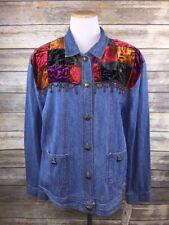 Saint Germain Paris Denim Velvet Patchwork Beaded Jacket Boho Women's Sz XL