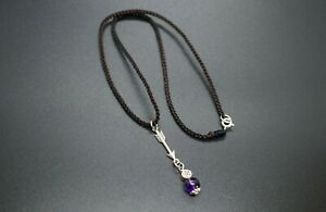Natural Amethyst Charm Sterling Silver Arrow Amethyst Pendant Braided Necklace