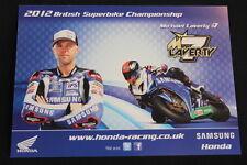Card Samsung Honda CBR 1000RR 2012 #7 Michael Laverty (GBR) BSB (HW)