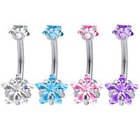 4PC Belly Button Ring Surgical Steel Internally Threaded Piercing Navel Bar 14G