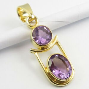 """925 Solid Silver Yellow Gold Flashed Purple AMETHYST Pendant 1.3"""" Gift Jewelry"""