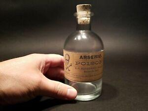 Antique Vintage Style Glass Apothecary Arsenic Poison Bottle