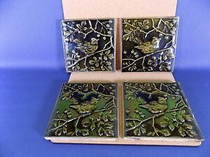 Rare Minton Majolica Green Bird Tiles x 4