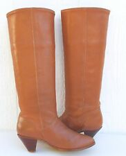 VTG Frye Saddle Boots Booties Tan Leather USA Heel Pull On Tall Cuff Women 5.5 M