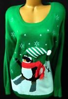 Holiday traditions green penguin snowflakes fur ball ugly christmas sweater 3X