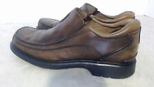 Men's Clarks Size 9M Brown Leather Square Apron Toe Slip On Dressy Casual Shoes