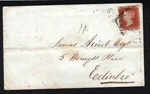 1847 Irish Cover Penny Red imperf 3m Derry to Edinborough-blue Derry cds