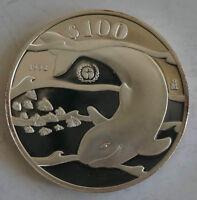 MEXICO 100 Pesos 1992 Silver Proof Save the Vaquita Porpoise