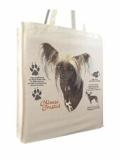 Chinese Crested (w) Cotton Shopping Tote Bag with Gusset & Long Handles